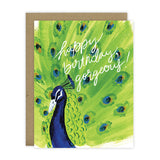 Happy Birthday, Gorgeous! featuring a brightly painted peacock - [product type] - Hen Pen Paper Co