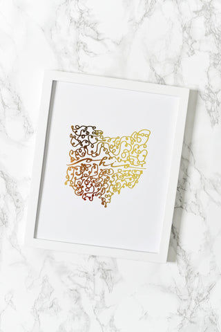 Ohio Gold Foil Art Print - [product type] - Hen Pen Paper Co