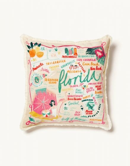 "The ""Florida"" Embroidered Pillow by Spartina 449"