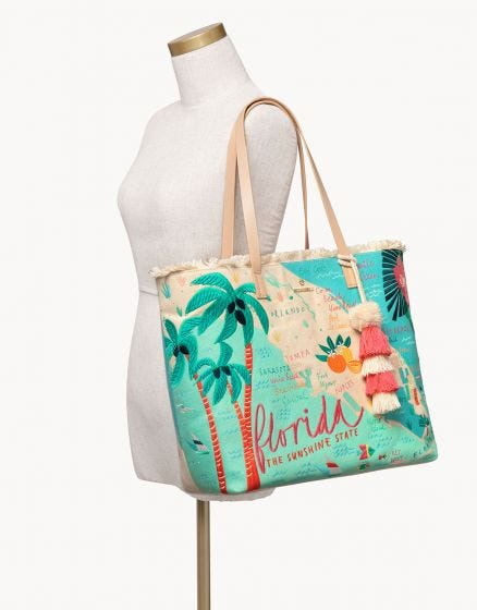 "The ""Florida"" Embroidered Large Fringe Tote by Spartina 449"