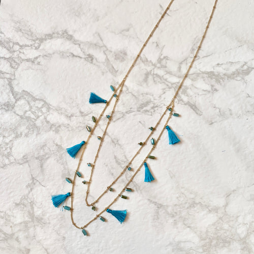 "The ""Mini Blue Tassel"" Necklace"