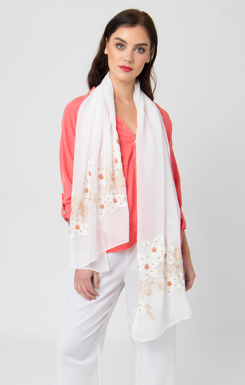 "The ""White Floral"" Scarf"