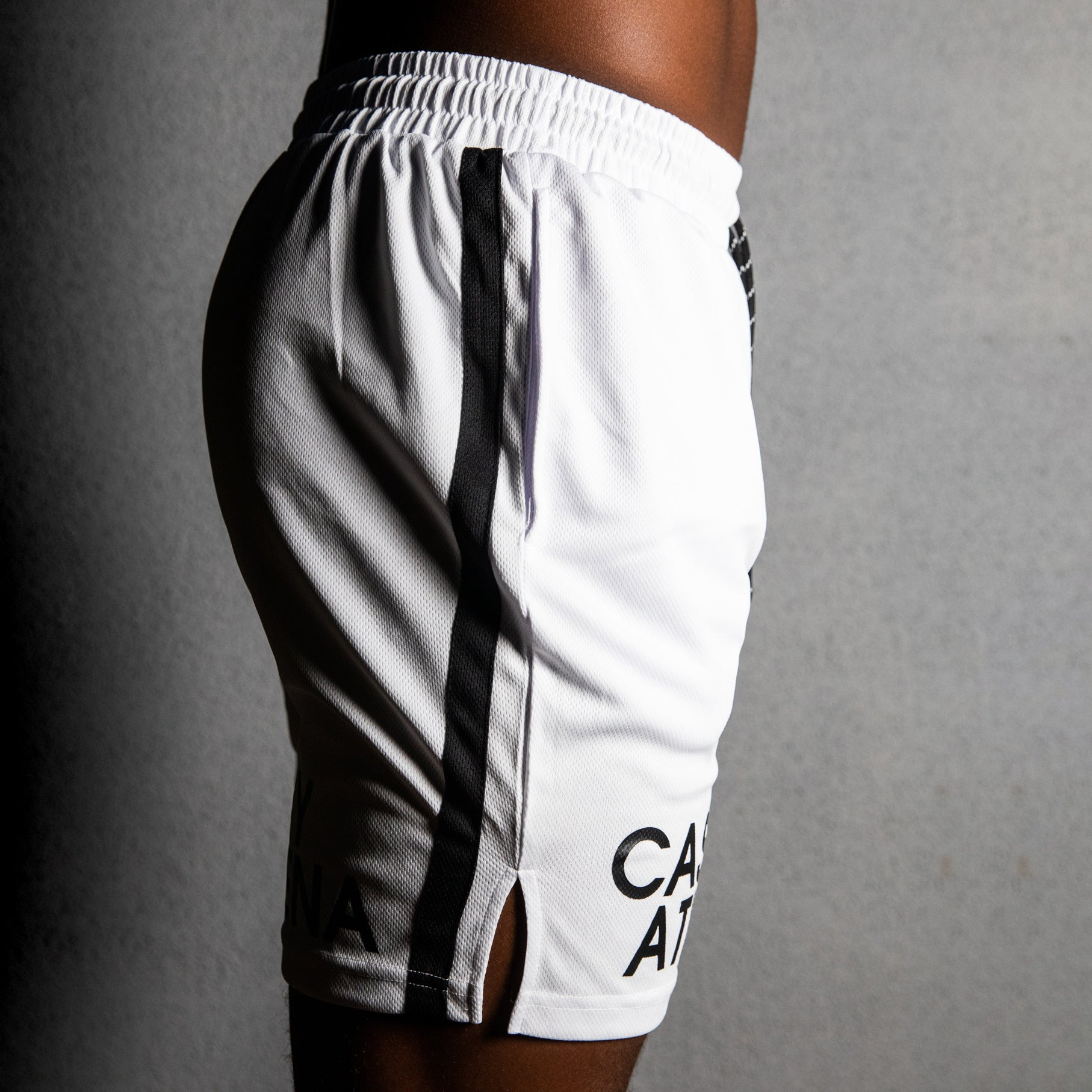 White Watermark Gym Shorts
