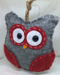 Gray & Red Owl Ornament