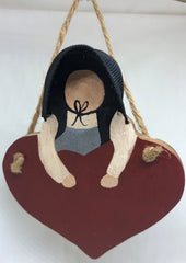 Amish Heart Girl Ornament