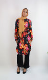 Midnight Blossom Button-Up Midi Tunic