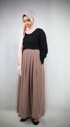 Mauve Pleated Chiffon Maxi Skirt