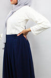 Navy Pleated Chiffon Maxi Skirt