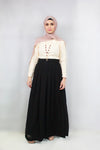 Black  Pleated Chiffon Maxi Skirt - Nur Shop