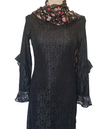 Frill Sleeves Lace Dress-Black