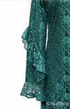 Frill Sleeves Lace Dress-Green