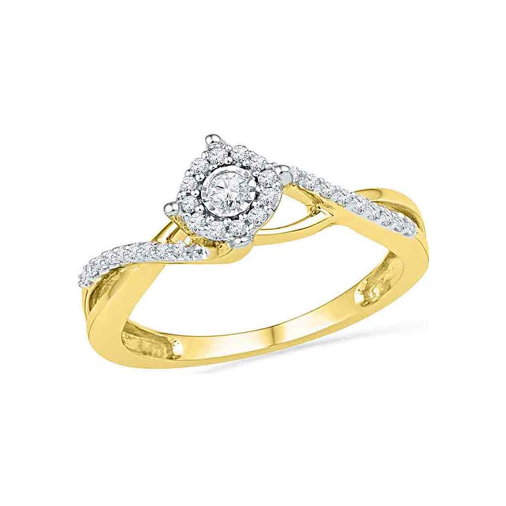 10kt Yellow Gold Womens Round Diamond Solitaire Twist Promise Bridal Ring 1/5 Cttw