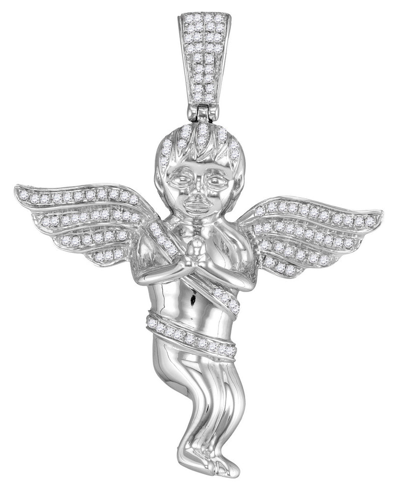 10kt White Gold Mens Praying Guardian Angel Pendant with Diamond 1/2 Cttw