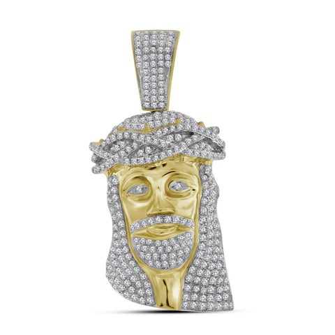 10K Gold Jesus Piece Pendant For Men with Diamonds 1-3/4 Cttw