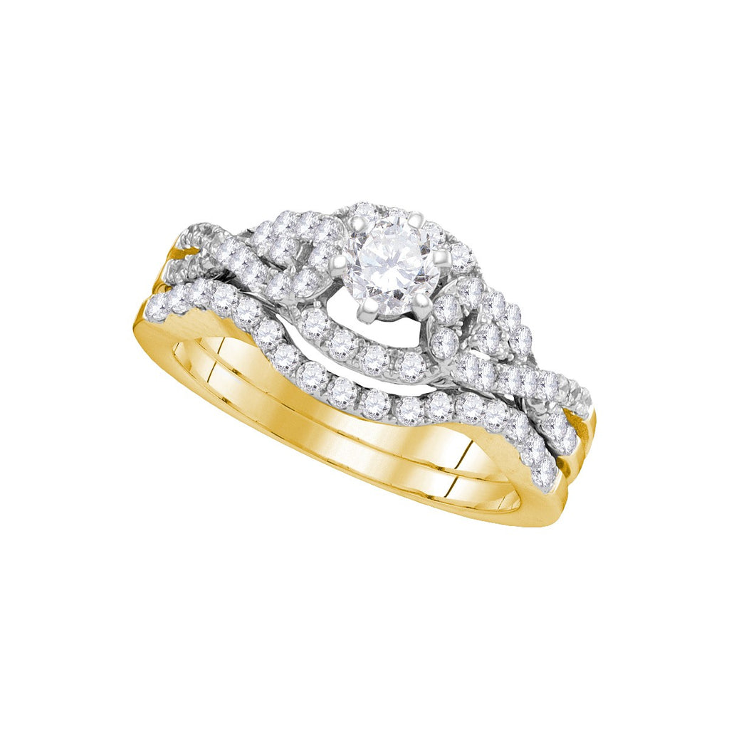 14k Yellow Gold Womens Round Diamond Woven Twist Bridal Wedding Engagement Ring Band Set 1 Cttw