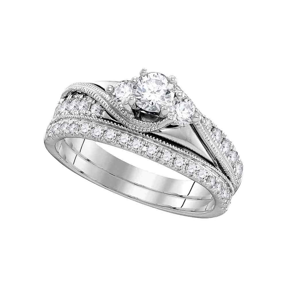 14kt White Gold Womens Round Diamond 3-Stone Bridal Wedding Engagement Ring Band Set 7/8 Cttw