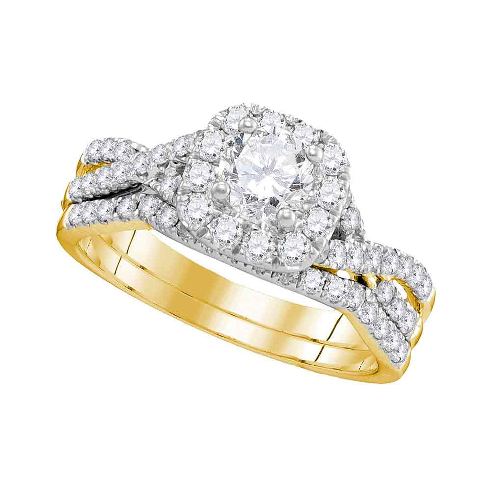 14kt Yellow Gold Womens Round Diamond Halo Twist Bridal Wedding Engagement Ring Band Set 1.00 Cttw