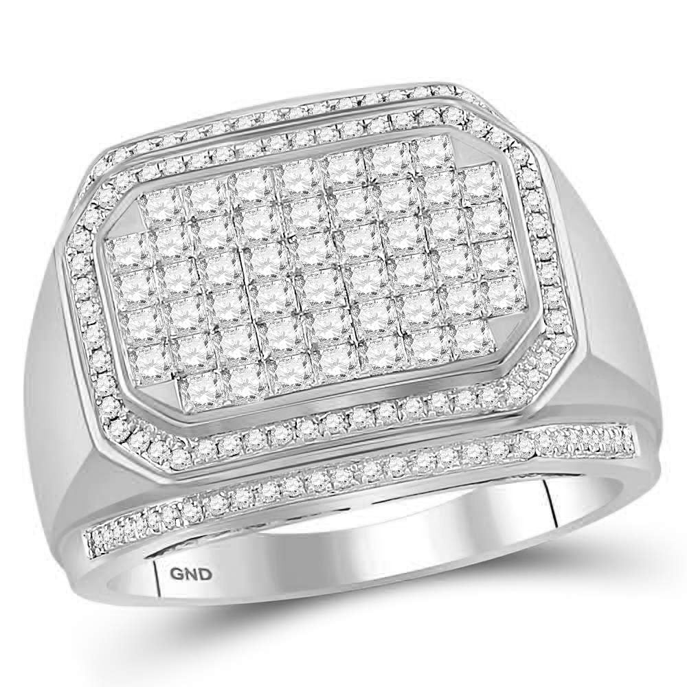 14kt White Gold Mens Round Diamond Octagon Cluster Ring 1-3/4 Cttw
