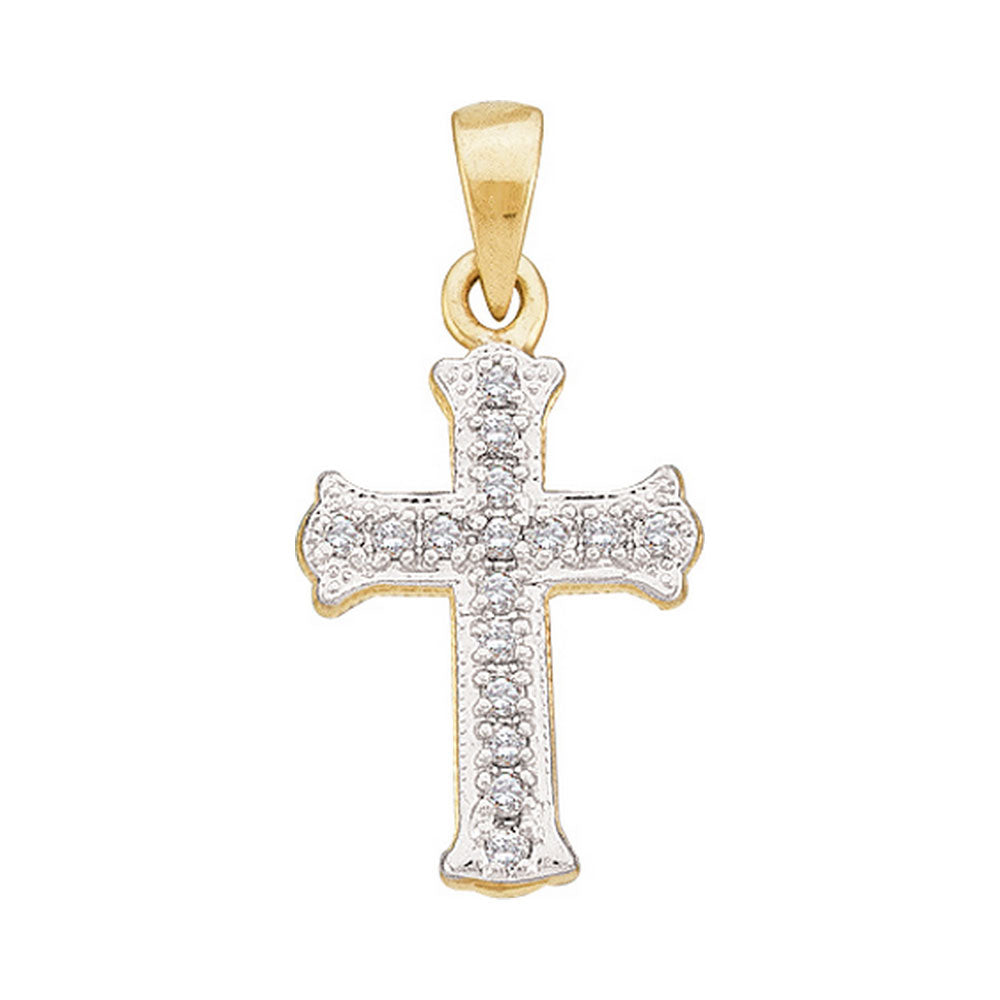 Gold Cross Pendant for Women, Scalloped Religious Style 1/12 Cttw