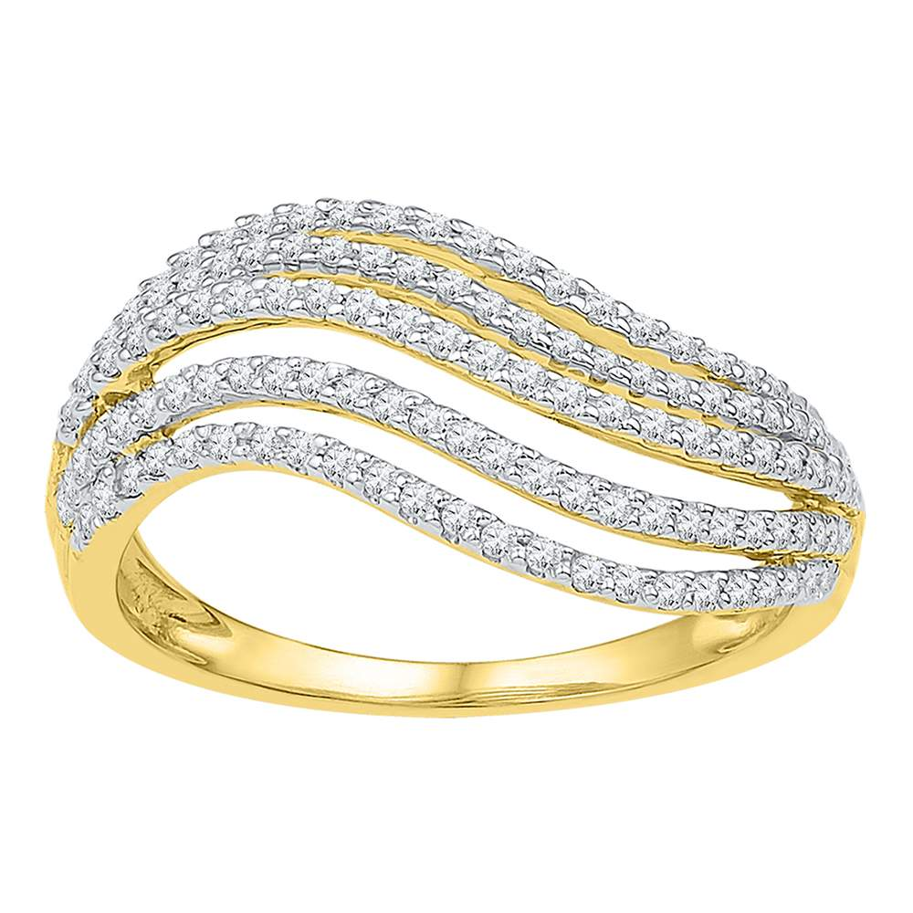 10kt Yellow Gold Womens Round Diamond Striped Band Ring 1/2 Cttw