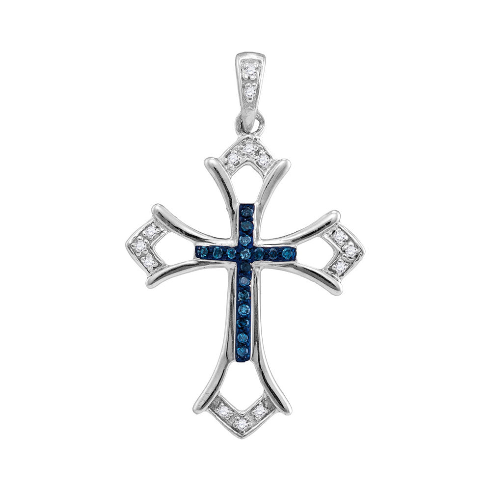 Sterling Silver Cross Pendant with Blue Stones 1/10 Cttw