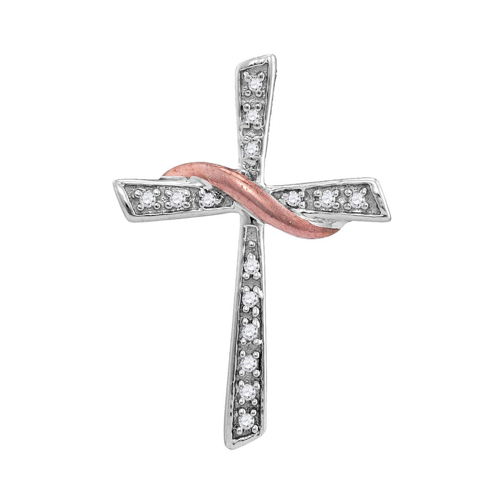 Rose Gold & Silver Cross Pendant with Diamond and Tassel 1/20 Cttw