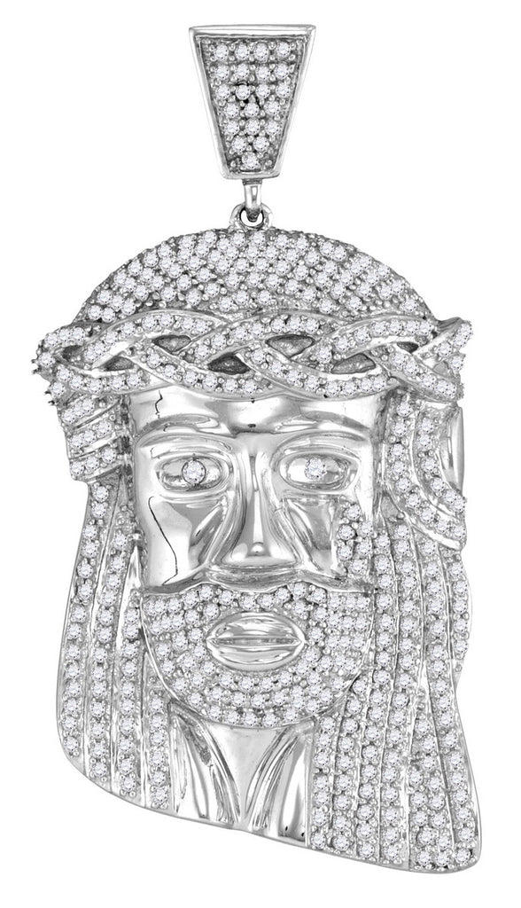 White Gold Jesus Pendant with Diamonds, 10K Jewelry 1-1/3 Cttw