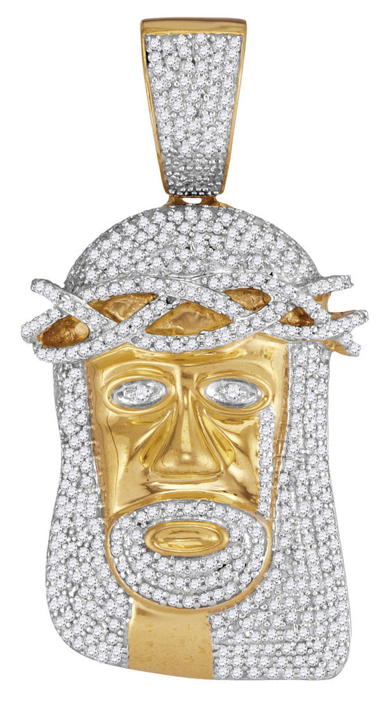 10K Gold Jesus Face Pendant for Men with Encrusted Diamonds 1-1/5 Cttw