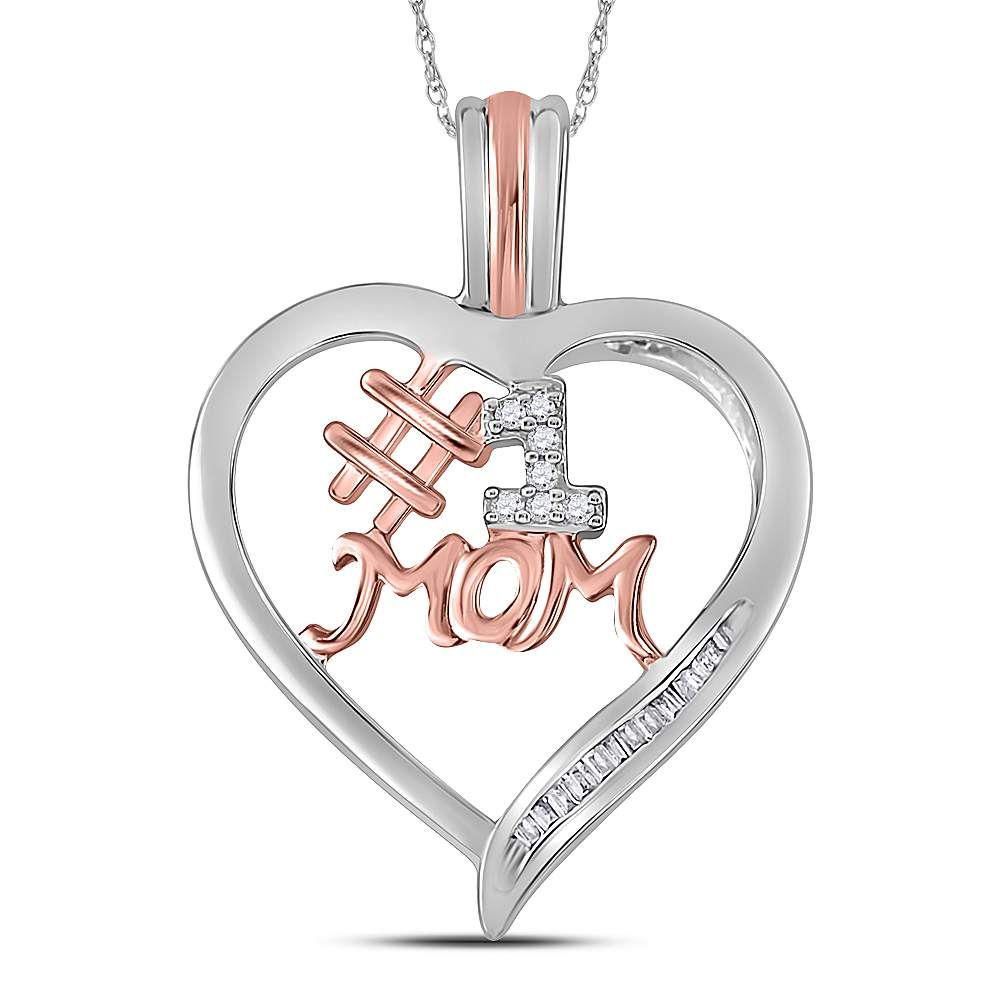 Rose Gold Plated, Sterling Silver #1 MOM Heart Pendant with Stones 1/10 Cttw