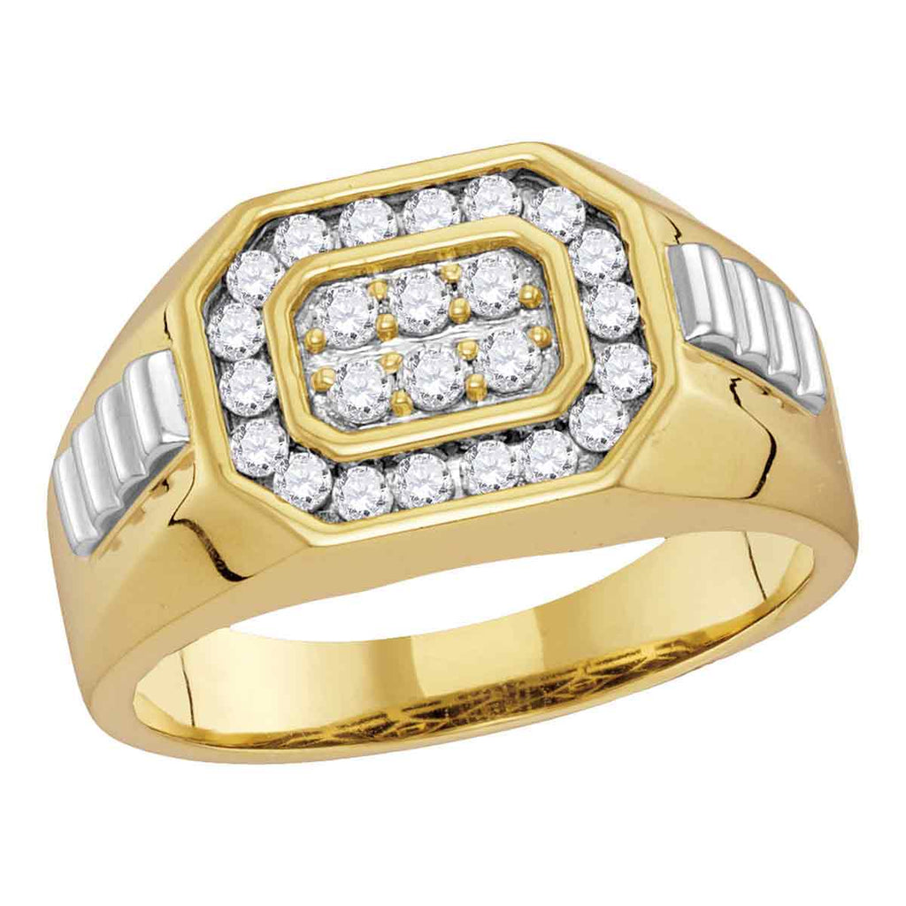 14kt Yellow Two-tone Gold Mens Round Diamond Octagon Frame Cluster Ribbed Ring 1/2 Cttw