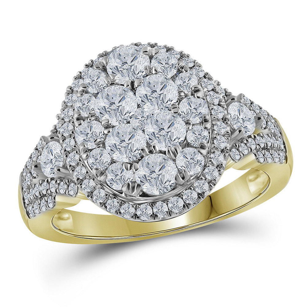 14kt Yellow Gold Womens Round Diamond Cluster Bridal Wedding Engagement Ring 1-1/2 Cttw