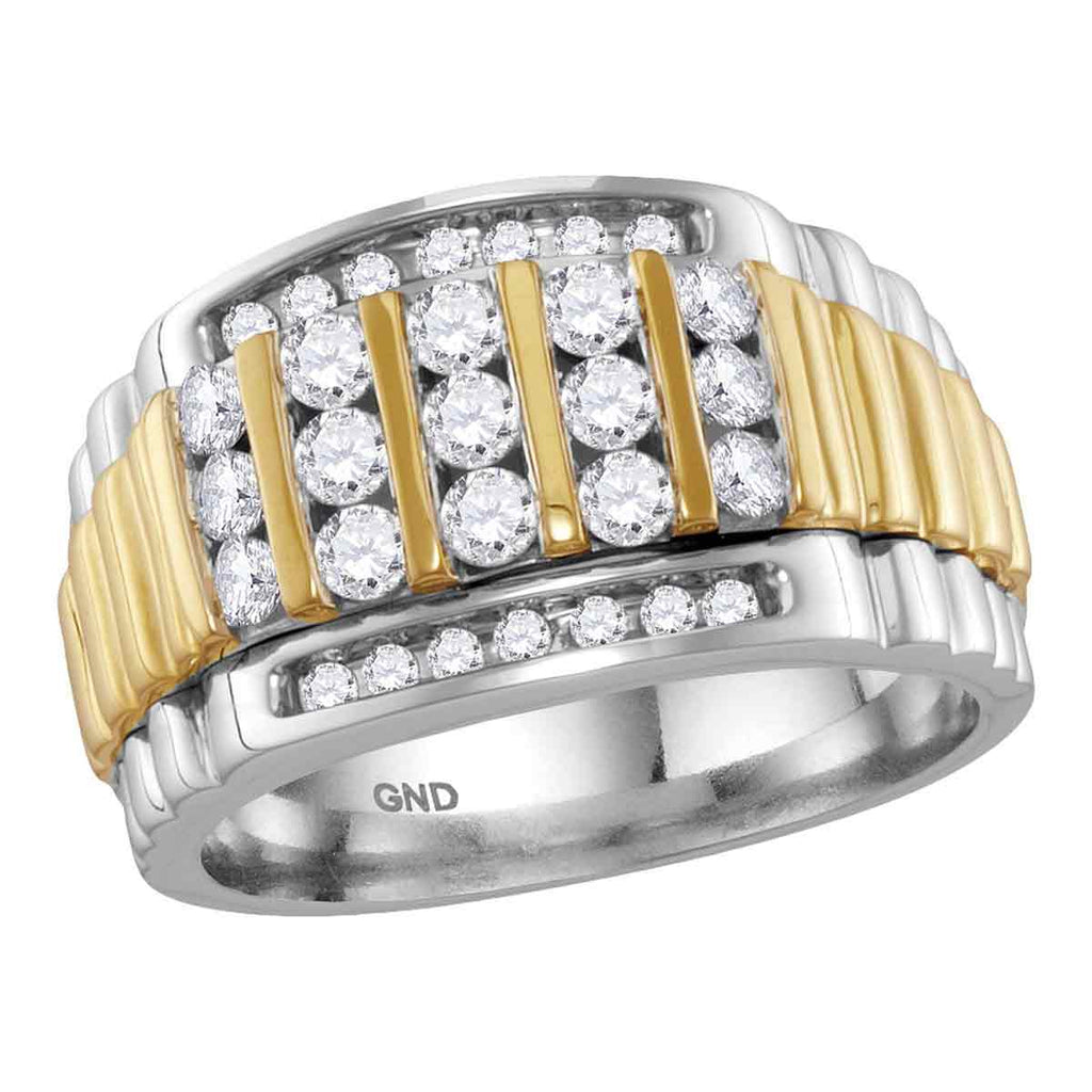 14kt Two-tone White Gold Mens Round Diamond Cluster Ring Band 1.00 Cttw