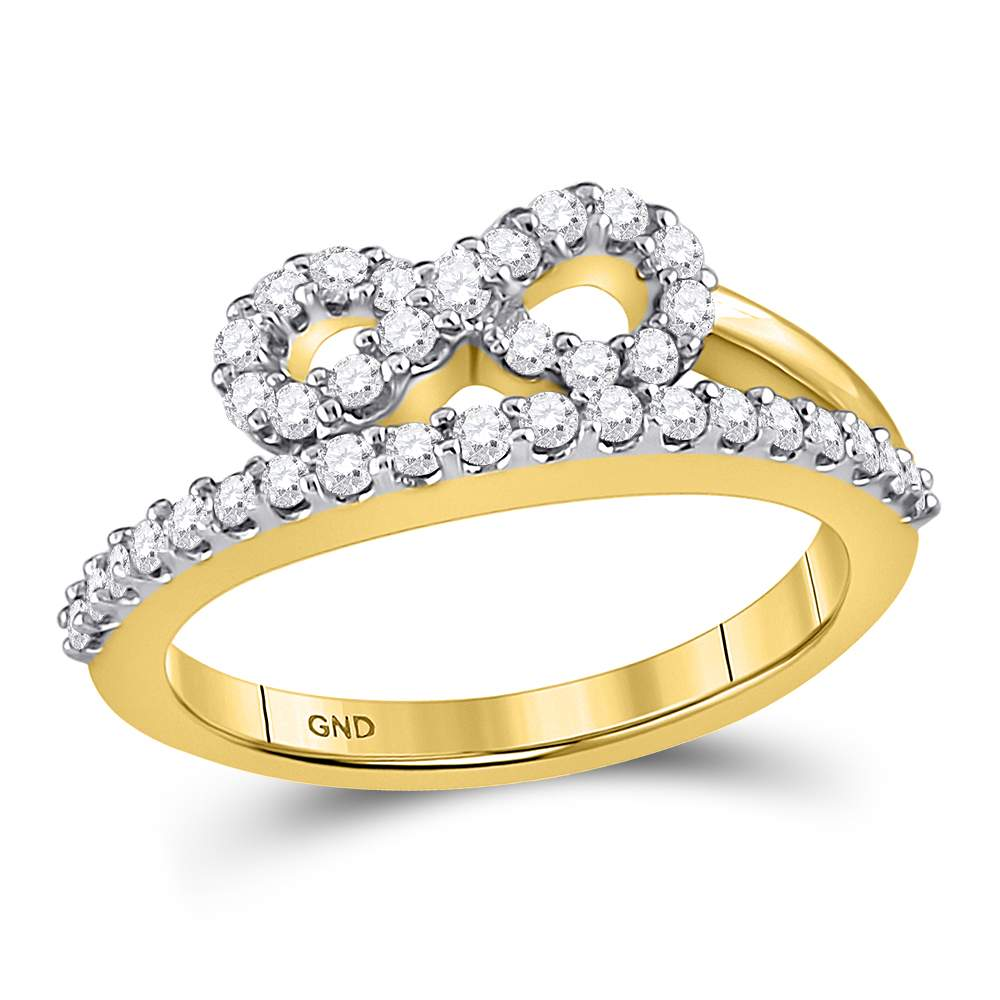 10kt Yellow Gold Womens Round Diamond Woven Infinity Band Ring 1/2 Cttw