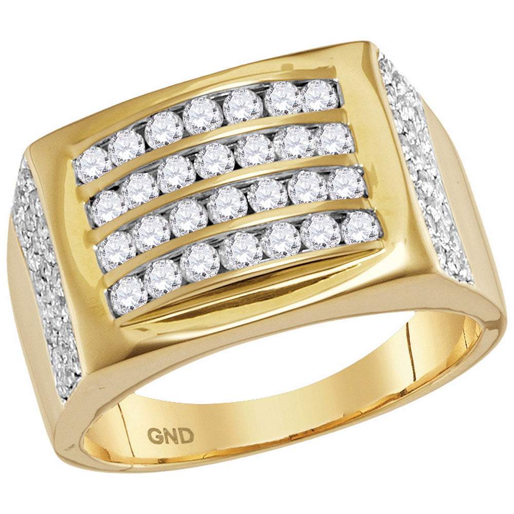 14kt Yellow Gold Mens Round Diamond 4 Row Rectangle Fashion Ring 1-1/3 Cttw