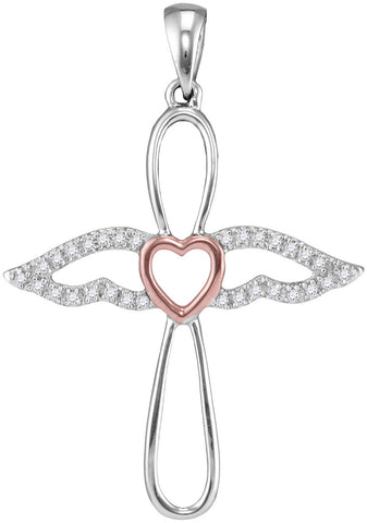 Angel Cross Necklace, Sterling Silver with Rose Gold Heart 1/8 Cttw