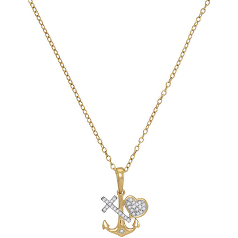 10K Gold Heart and Cross Necklace for Women with Diamonds & Anchor 1/12 Cttw