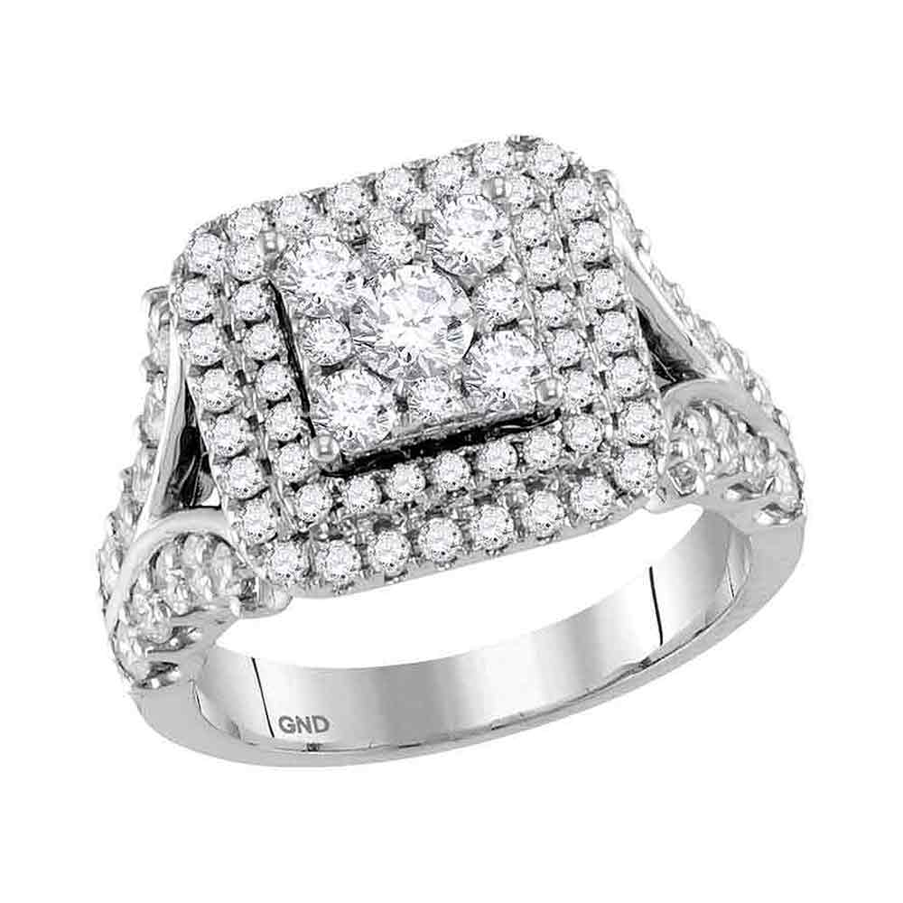 14kt White Gold Womens Round Diamond Square Cluster Bridal Wedding Engagement Ring 2.00 Cttw