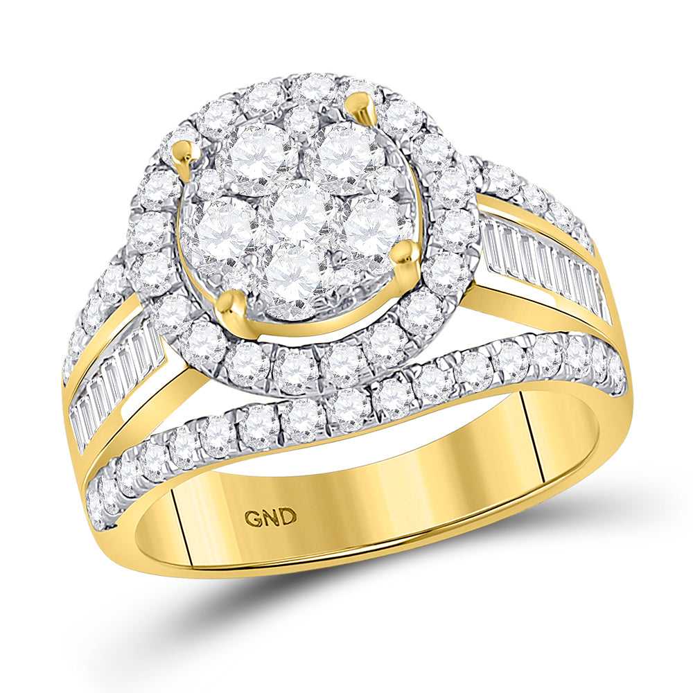 14kt Yellow Gold Womens Round Diamond Flower Cluster Bridal Wedding Engagement Ring 1-7/8 Cttw