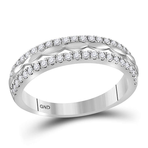 14kt White Gold Womens Round Diamond Double Row Band Ring 3/8 Cttw
