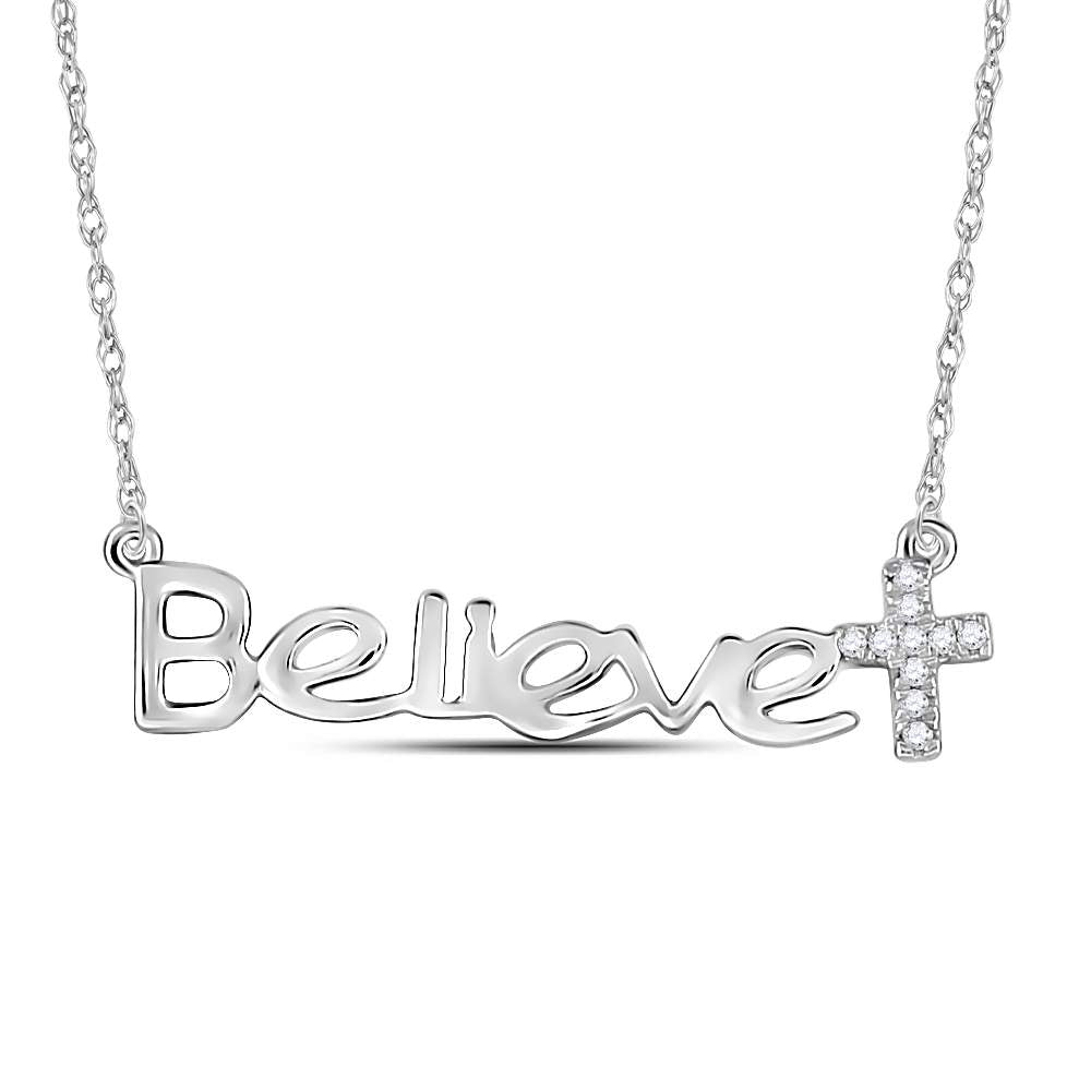 BELIEVE Cross Necklace in 14K White Gold & Diamonds, Religious Theme 1/20 Cttw