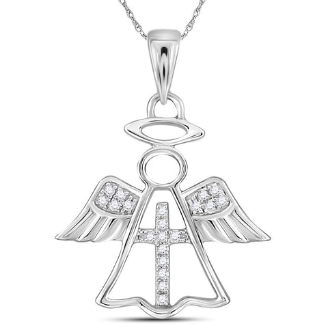 Guardian Angel Cross Necklace for Women, 14Kt White Gold 1/20 Cttw