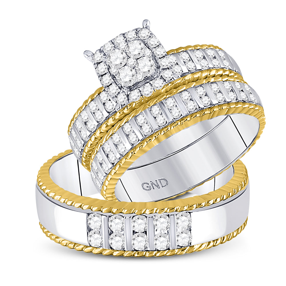 14kt Two-tone Gold His & Hers Round Diamond Cluster Matching Bridal Wedding Ring Band Set 1-1/20 Cttw