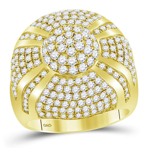 14kt Yellow Gold Mens Round Diamond Large Cluster Ring 3-5/8 Cttw