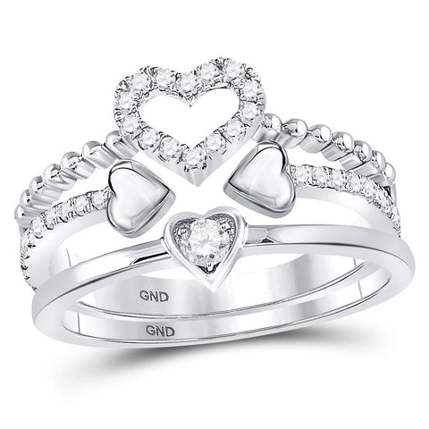 14kt White Gold Womens Round Diamond 2-Piece Beaded Heart Band Ring Set 1/3 Cttw
