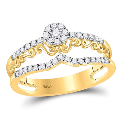 14kt Yellow Gold Womens Round Diamond Flourished Cluster Band Ring 1/3 Cttw