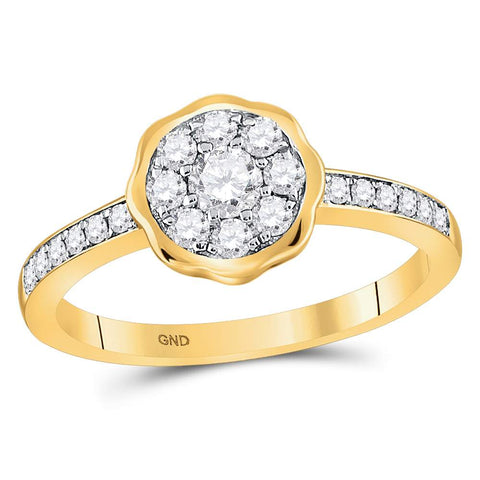 14kt Yellow Gold Womens Round Diamond Flower Cluster Ring 3/8 Cttw