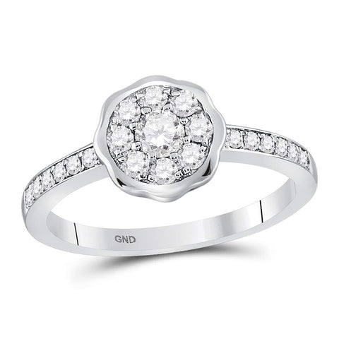 14kt White Gold Womens Round Diamond Flower Cluster Ring 3/8 Cttw