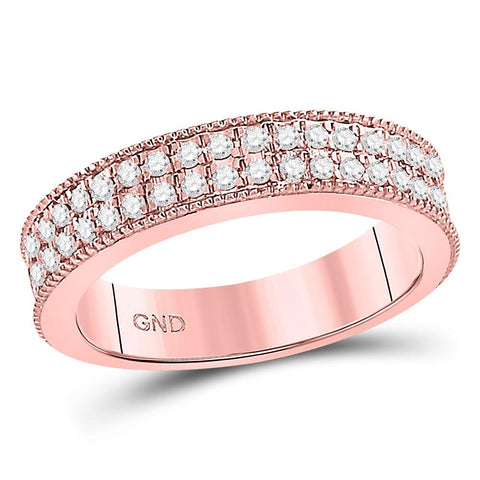 14kt Rose Gold Womens Round Diamond Double Row Pave Band Ring 1/2 Cttw