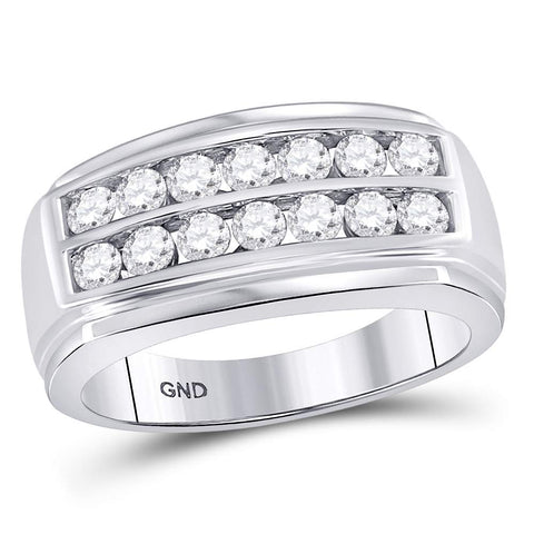 14kt White Gold Mens Round Diamond Double Row Band Ring 1-1/8 Cttw