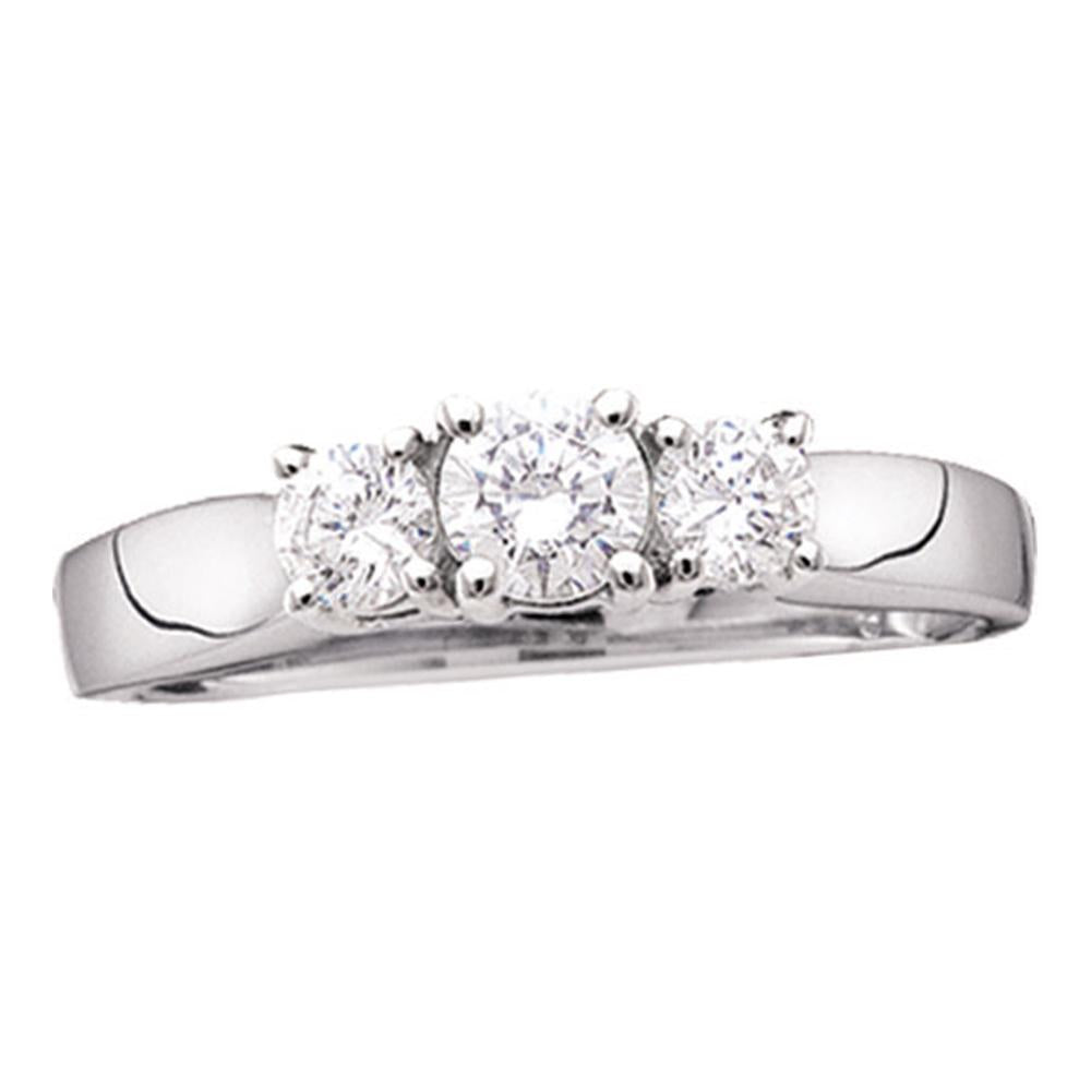 14kt White Gold Womens Round Diamond 3-stone Bridal Wedding Engagement Ring 1-1/2 Cttw